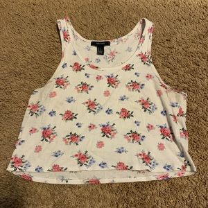 Forever 21 White Floral Crop Top
